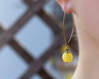 Yellow Earrings Agate Earrings Yellow Agate Jewelry Agate Long Earrings Brass Earrings Simple Earrings Everyday Jewelry Gemstone Earrings