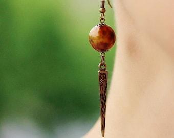 Dangle Brass Earrings Bronze Tone Beaded Earrings Brass Jewelry Long Earrings Geometric Earrings Antique Brass Boho Earrings Ethnic Earrings