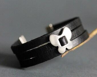Black Leather Bracelet Leather Charm Bracelet Flat Leather Bracelet 3 Rows Bracelet Black Leather Jewelry Black Jewelry Fashion Gift for her