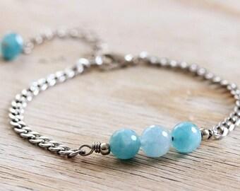 Angelite Bracelet Blue Gemstone Bracelet Blue Stone Bracelet Angelite Jewelry Mother Day Gift Natural Stone Bracelet Silver Blue Bracelet