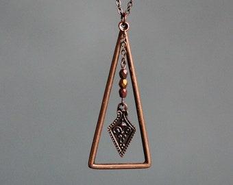Geometric Copper Necklace Triangle Necklace Modern Geometric Necklace Copper Boho Necklace Copper Jewelry Unique Necklace Triangle Pendant