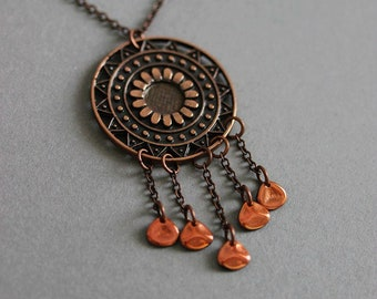 Copper Medallion Boho Necklace Bohemian Necklace Layering Copper Necklace Round Charm Gypsy Necklace Metal Pendant Statement Hippie Necklace