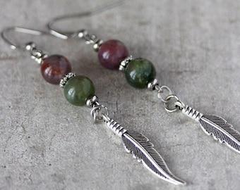 Indian Agate Gemstone Earrings  Silver Tone Feather Earrings Green Lilac Earring Unique Extra Long Stone Dangles Steel Hook Earrings Agate