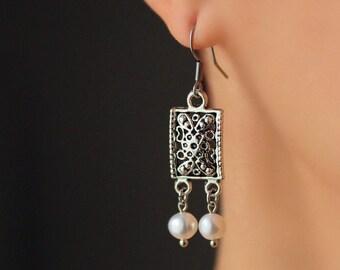 Freshwater Pearl Earrings Silver Tone Boho Earrings Dangle Rectangular Charm Earring White Pearl Earring Unique Dangles Trendy Boho Earrings