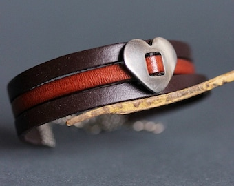 Brown Leather Bracelet Leather Silver Charm Bracelet Flat Leather Cord Bracelet Leather Jewelry 3 Rows Bracelet Boho Leather Cuff Bracelet