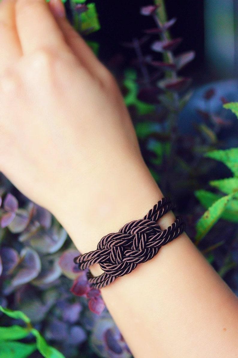 Dark Brown Bracelet Brown Rope Knot Bracelet Rope Bracelet image 1