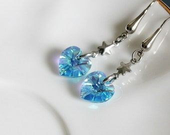 Blue Crystal Heart Earrings Dangle Heart Earrings Delicate Earrings Small Heart Earrings Silver Heart Earrings Love Earrings Gift for Mom