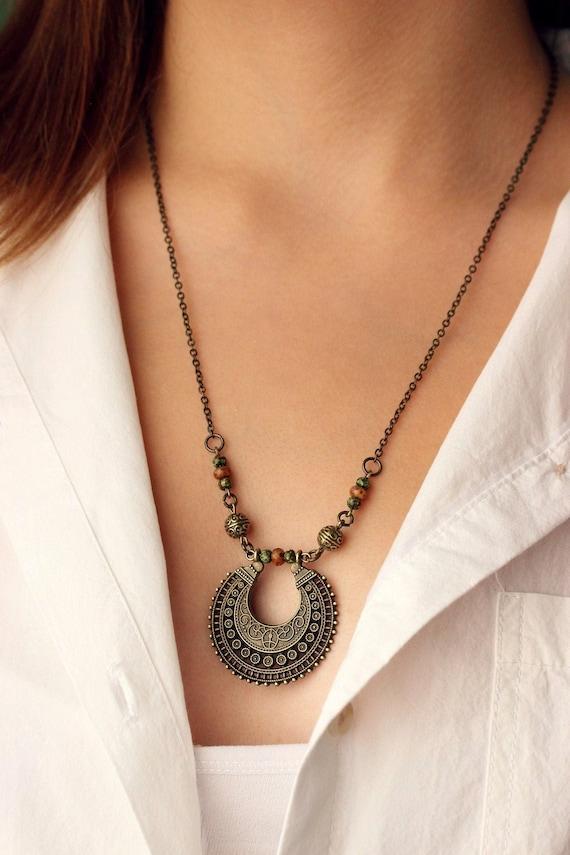 Brass Bronze Beaded Charm Necklace Multi Charm Necklace Turquoise.Summer Bronze Necklace Charm Necklace Brass Vintage