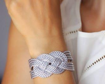 Sailor Knot bracelet Light Gray Bracelet Nautical Rope Bracelet Rope Knot Bridesmaid Bracelet Everyday Bracelet Rope Jewelry Gray Bracelet