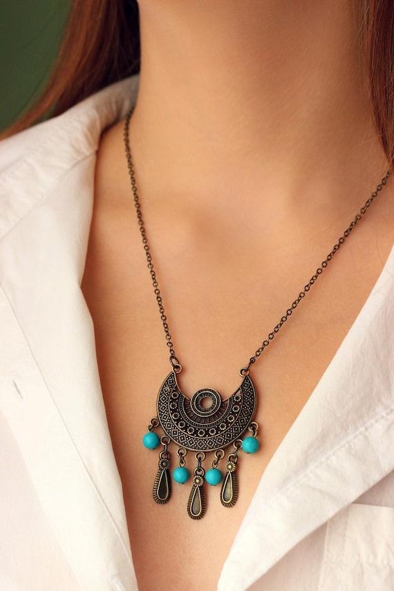 Antique Brass Big Pendant Necklace Turquoise Brass Ethnic Necklace Unique Tribal Necklace Hippie Necklace Trendy Necklace Brass Boho Jewelry