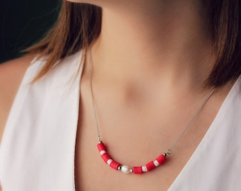 Red White Bar Necklace Freshwater Pearl Necklace Heishi Beads Necklace One Pearl Necklace Trendy Boho Necklace Unique Rubber Bead Necklace
