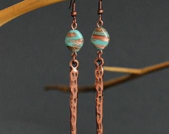 Copper Stick Earrings Simple Boho Earrings Blue Copper Earrings Glass Drop Earrings Blue Brown Earrings Long Stick Earrings Unique Earrings