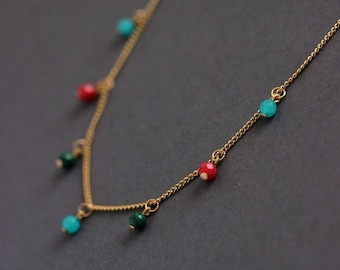 Dainty Gold Tone Necklace with Multicolor Gemstone Beads Steel Chain Necklace Trendy Multicolor Beaded Necklace Unique Gemstone Necklace