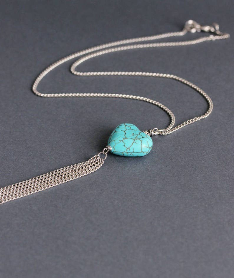 Turquoise Heart Necklace Dainty Necklace Blue Stone Heart Pendant Silver Turquoise Jewelry Healing Stone Love Necklace Anniversary Gift Blue
