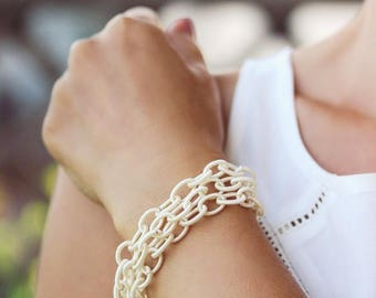 Ivory White Bracelet White Fabric Chain Bracelet White Chunky Bracelet Wrap Bracelet Link Bracelet Delicate White Bracelet Beach Wedding
