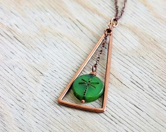 Green Copper Necklace Large Dragonfly Pendant Dragonfly Necklace Green Glass Necklace Dragonfly Jewelry Copper Boho Necklace Dragonfly Gift