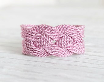 Pink Knot Bracelet Rope Knot Bracelet Pink Rope Bracelet Knot Bracelet Nautical Bracelet Sailor Knot Bracelet,Nautical Knot,Rope Jewelry