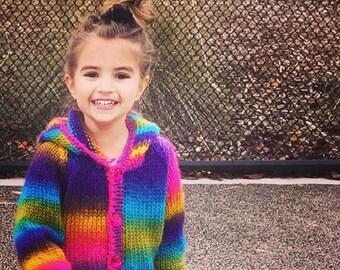 Rainbow cardigan hand knit sweater 3T