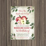 Apple Birthday Party Invitation, Apple of Our Eye 1st Birthday Invitation, Fall Rustic Birthday Invitation, Apple Blossom, DIY or Printed