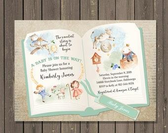 Nursery Rhyme Baby Shower Invitation Storybook Book Humpty Dumpty DIY Or Printed
