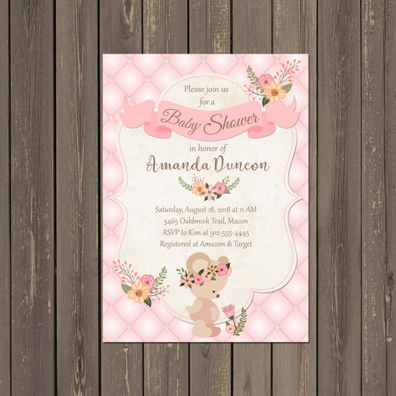 Teddy Bear Baby Shower Invitation Teddy Bear Baby Girl