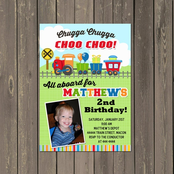 Train Birthday Party Invitation Boys Photo 1st 2nd 3rd Any Age Printable Or Printed