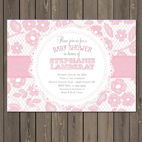 Lace baby shower invitation pink and white baby shower etsy image 0 filmwisefo