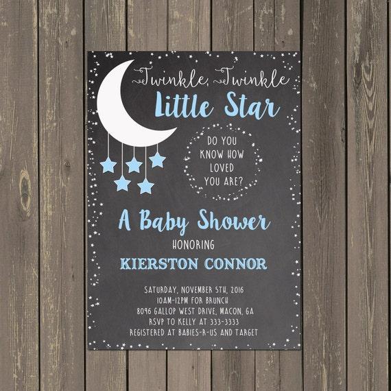 Moon And Stars Baby Shower Invitation Little Star Shower Invitation