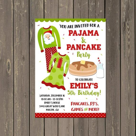 Christmas Pancakes And Pajamas Party Invitation Holiday Pancakes