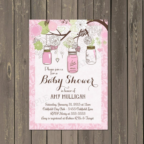 Mason Jar Baby Shower Invitation Pink Damask Mason Jar Etsy