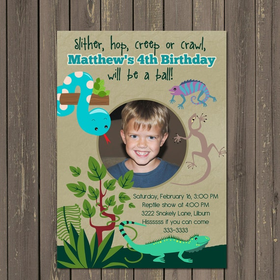 Reptile Birthday Invitation Snake Boys Party