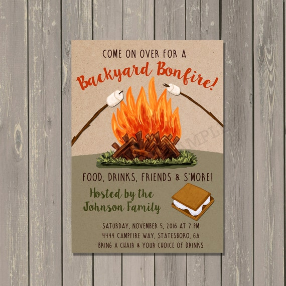 Bonfire Invitation Backyard Bonfire Party Invitation Camping