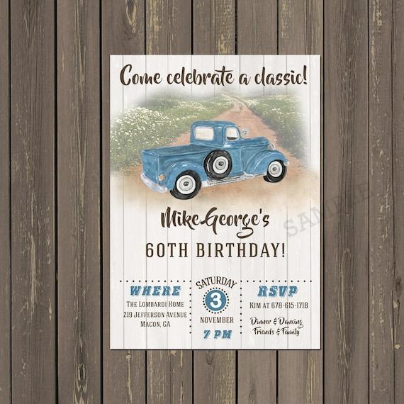 Oldtimer Lkw Erwachsenen Geburtstags Einladung Herren Etsy