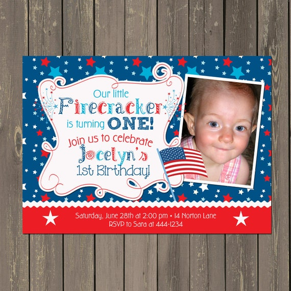 July 4th Birthday Invitation Firecracker Red White And Blue Little 1st Printable Or Printed