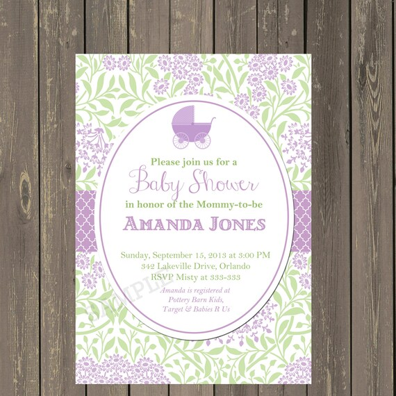 Lavender and green baby shower invitation stroller baby etsy image 0 filmwisefo