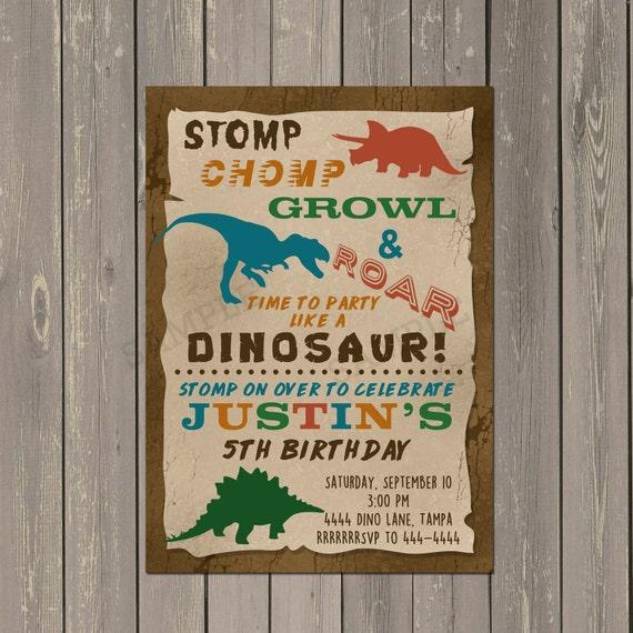 Dinosaur Birthday Invitation Trex Dino Party Invite