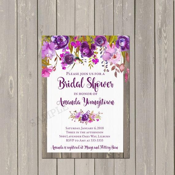 4fe1684ab7b3 Purple Bridal Shower Invitation