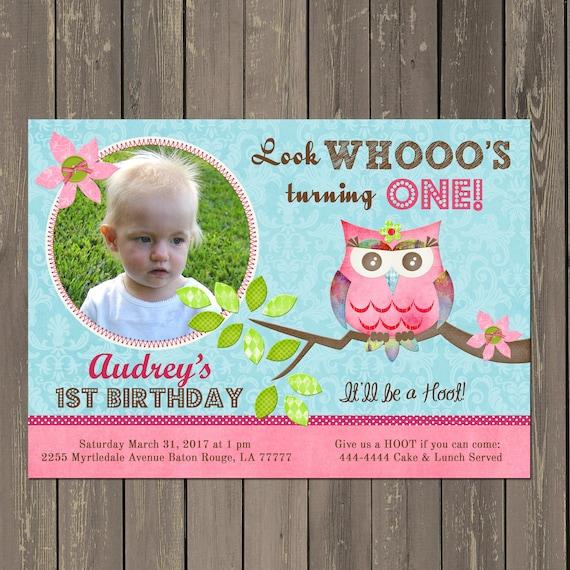 Owl 1st Birthday Invitation, Owl Birthday Party