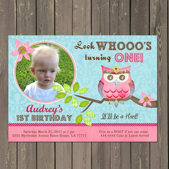 Owl 1st Birthday Invitation Party Invitations