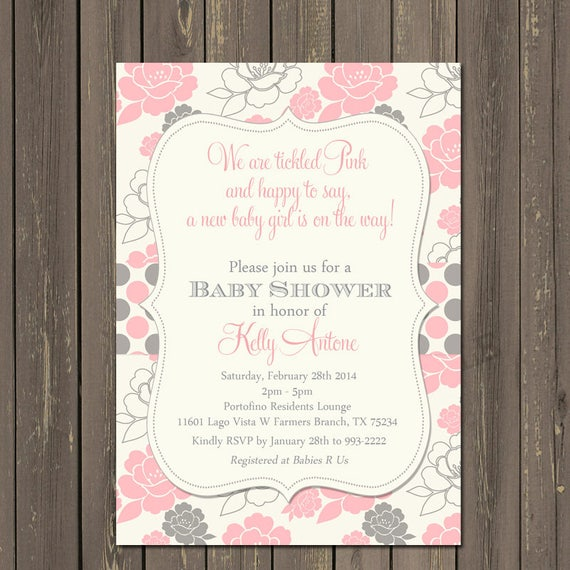 Pink And Grey Baby Shower Invitation Tickled Pink Baby Shower Etsy