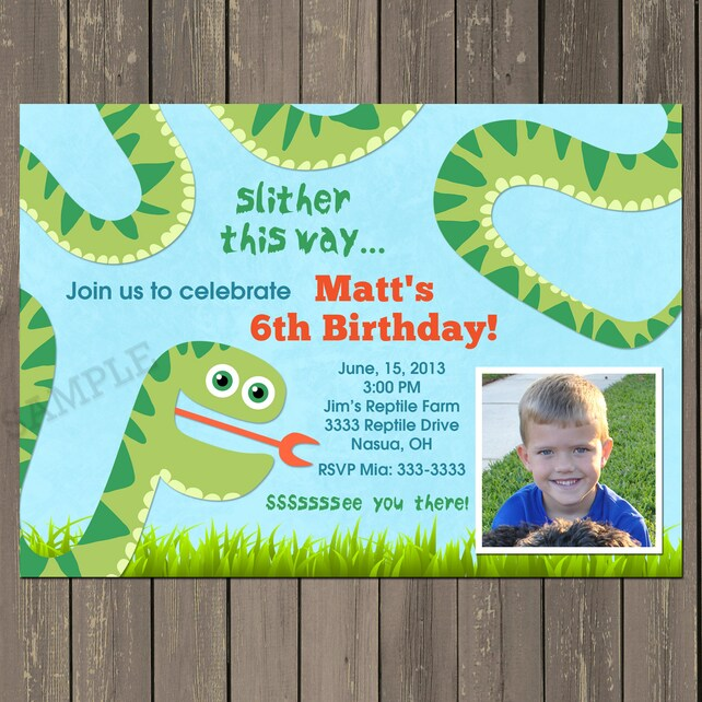 Snake Birthday Invitation Party Invite Reptile Boys Theme Printable Or Printed