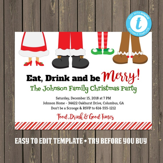 Funny Christmas Party Invitation Eat Drink And Be Merry