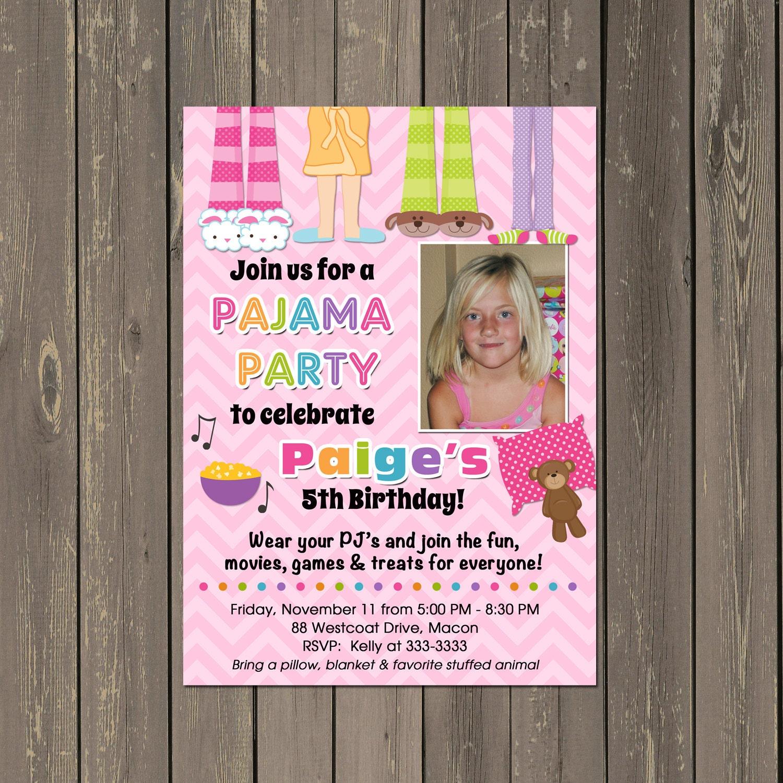 Pajama Party Sleepover Birthday Party Invitation Faux Slumber Etsy