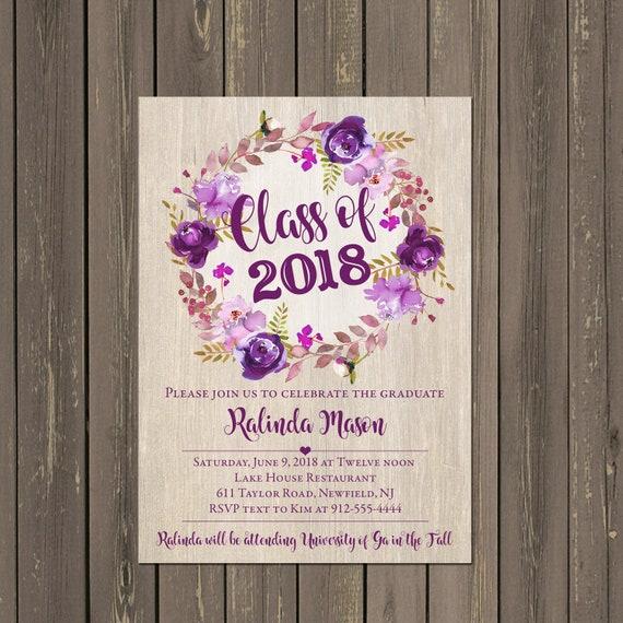 purple floral graduation party invitation purple watercolor wreath