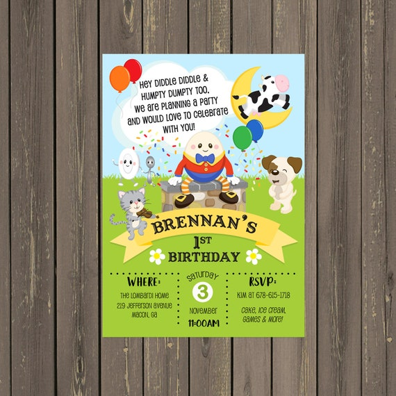 Nursery Rhyme Birthday Invitation Story Book Party Humpty Dumpty Mother Goose Printable Or Printed