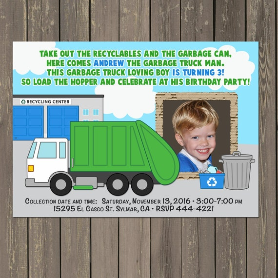 Garbage Truck Invitation Birthday Party