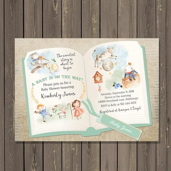 Nursery Rhyme Baby Shower Invitation Storybook Baby Shower Etsy