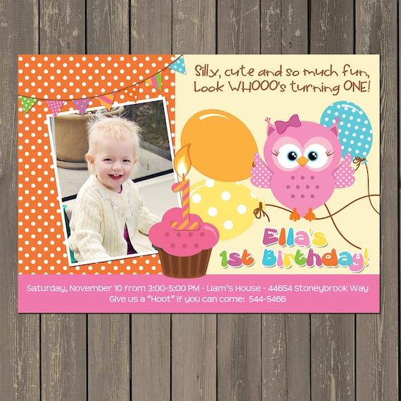 Owl 1st Birthday Invitation Girls Owl First Birthday Party Etsy