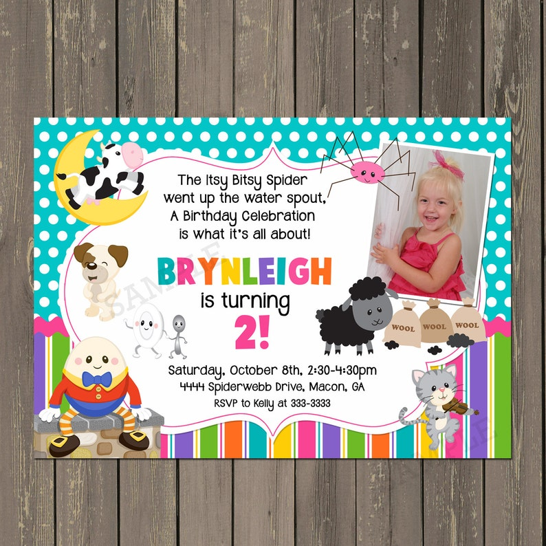 Nursery Rhyme Birthday Invitation Story Book Invitation Etsy