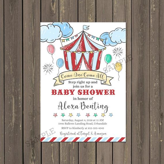 Circus Baby Shower Invitation Big Top Baby Shower Invitation
